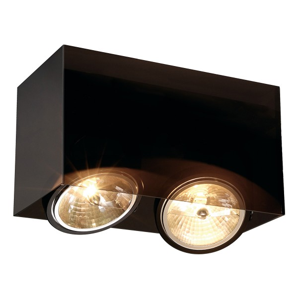 ACRYLBOX, Deckenleuchte, zweiflammig, QR-LP111, rechteckig, schwarz/transluzent, max. 100W