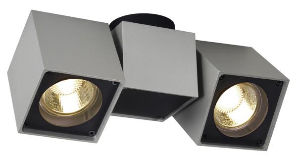 ALTRA DICE, Deckenleuchte, zweiflammig, QPAR51, silbergrau/schwarz, max. 100 W
