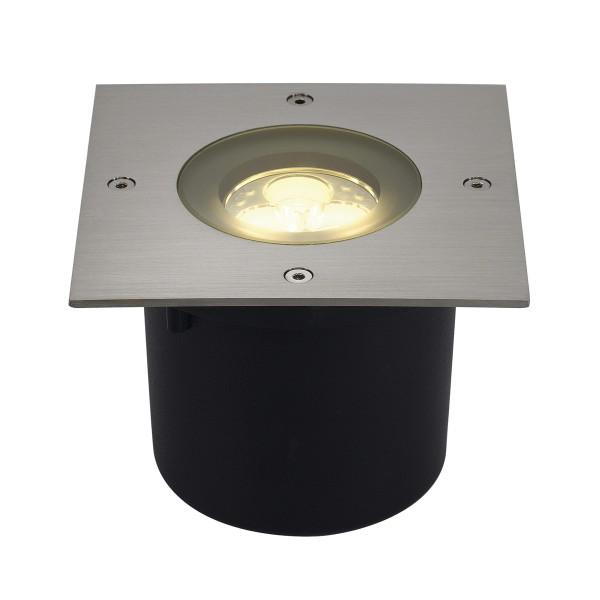 WETSY, Outdoor Bodeneinbauleuchte, LED, 3000K, IP67, eckig, edelstahl 316, Glas teilsatiniert, 3W