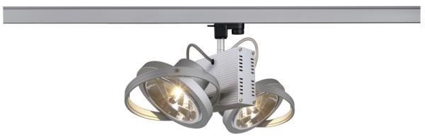 TEC 2, Spot für Hochvolt-Stromschiene 3Phasen, zweiflammig, QR111, silbergrau, max. 100W