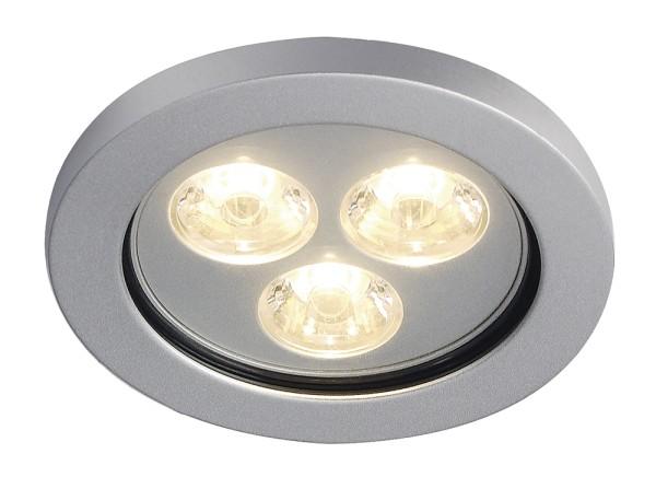EYEDOWN 3, Einbauleuchte, dreiflammig, LED, 3000K, IP44, rund, aluminium, 3W