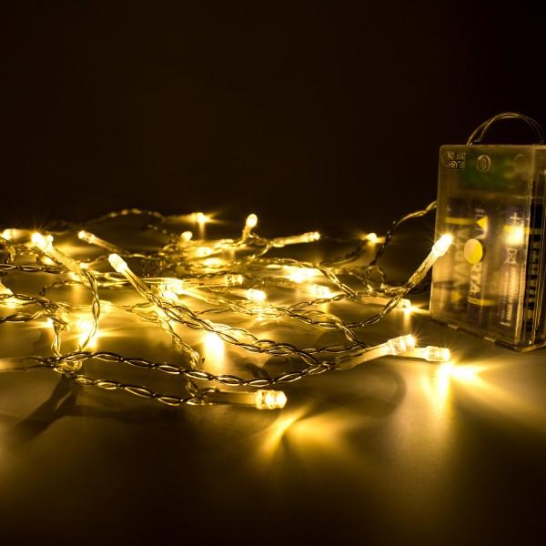 LED Lichterkette, 4m, Batteriebetrieben, Warmweiß