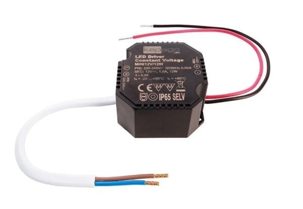 Deko-Light Netzgerät, OCTO, Mini 12V/12W, Kunststoff, Schwarz, 12W, 12V, 1000mA, 50x48mm