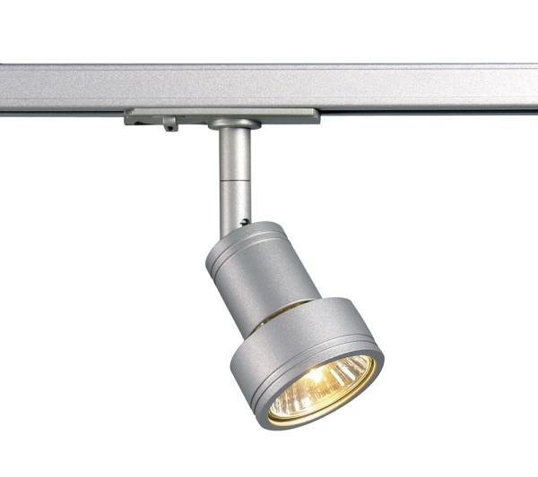 PURI, Spot für Hochvolt-Stromschiene 1Phasen, QPAR51, silbergrau, max. 50W, inkl. 1Phasen-Adapter