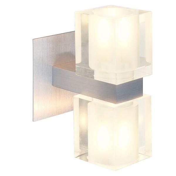 KOKO, Wandleuchte, zweiflammig, QT14, up/down, aluminium gebürstet, Glas teilsatiniert, max. 80W