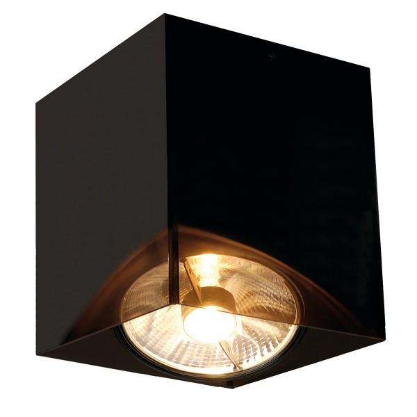 ACRYLBOX, Deckenleuchte, einflammig, QPAR111, eckig, schwarz/transluzent, max. 75W