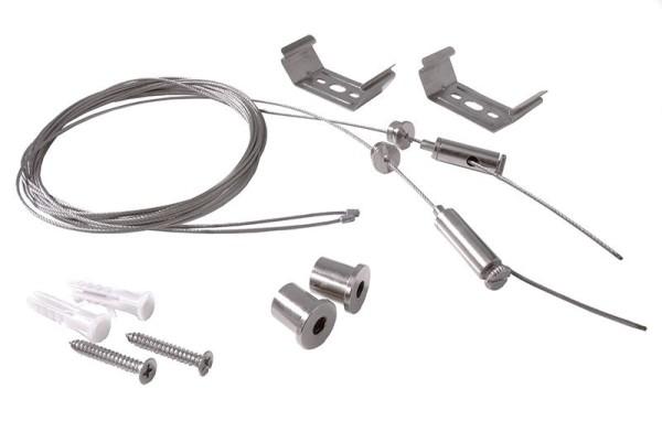 Deko-Light Zubehör, Seilabhängung einstellbar für Leuchte Tri Proof 2 Stk., Metall, Silber-grau