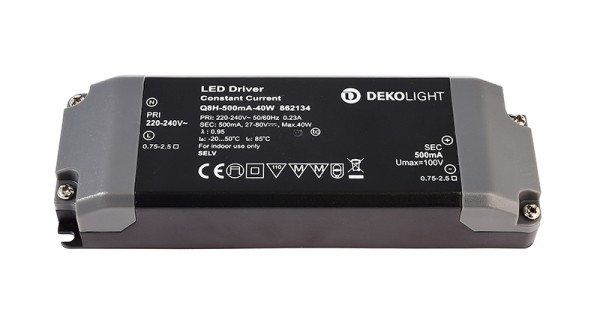 Deko-Light Netzgerät, BASIC, Q8H-500mA/40W, Kunststoff, Schwarz, 40W, 27-80V, 500mA, 142x50mm