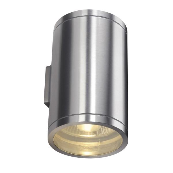ROX, Outdoor Wandleuchte, QPAR111, IP44, rund, aluminium gebürstet, up/down, max. 100W