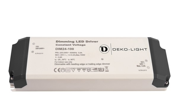 Deko-Light Netzgerät, Dimmable CV Power Supply 24V 34-100W, Kunststoff, Weiß, 100W, 24V, 4200mA