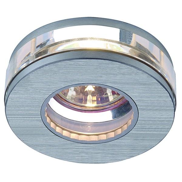 CRYSTAL IV Downlight, rund, metall gebürstet/Kristall klar, MR16, max. 35W