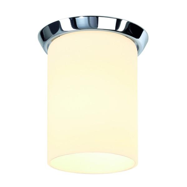 GLAS TUBE E27 Aufbaudownlight, rund, chrom, satiniertes Glas, E27, max.60W