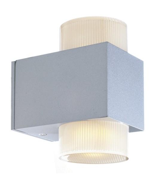 Wandleuchte Era LED, Alu, 2 x 3 Watt, Glas satinie
