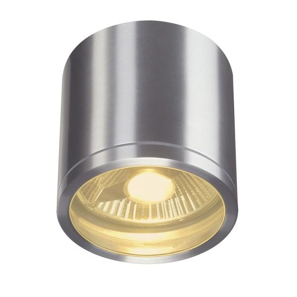 ROX CEILING, Outdoor Deckenleuchte, QPAR111, IP44, rund, aluminium gebürstet, max. 75W