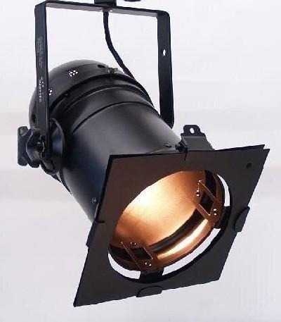 Messestrahler Par 56 mit Bügel, Aluminium schwarz, 230V, E27, Par30, max 150W, inkl. Farbfilterrahme