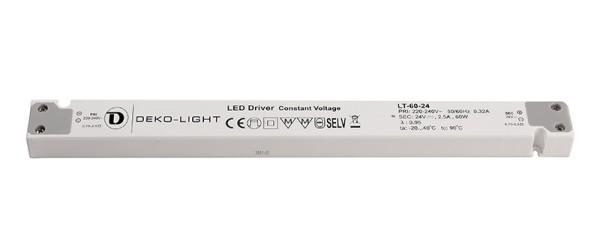 Deko-Light Netzgerät, LONG-FLAT, LT-60-24, Kunststoff, Weiß, 60W, 24V, 2500mA, 305mm