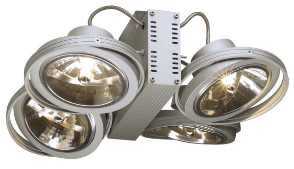 TEC KARDA 4, Wand- und Deckenleuchte, vierflammig, QR-LP111, silbergrau, max. 200 W