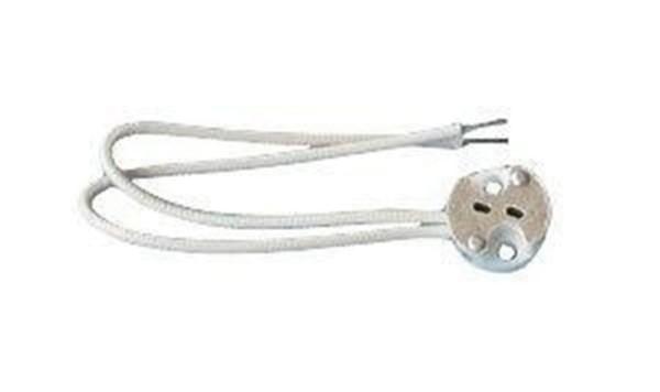 Deko-Light Zubehör, Fassung GU5,3 mit 15 cm Kabel, Keramik, Weiß, 50W, 12V, 150mm