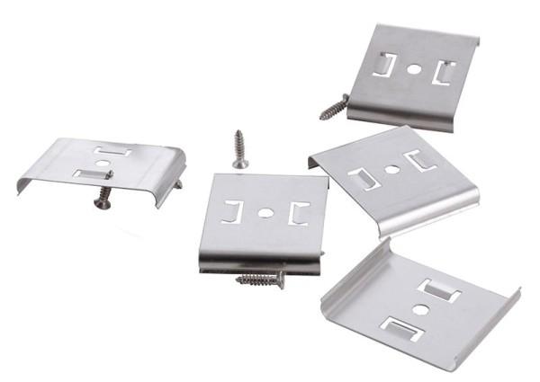 Deko-Light Zubehör, Befestigungsclips 5er Set Mia, Metall, Silber, 30x37mm