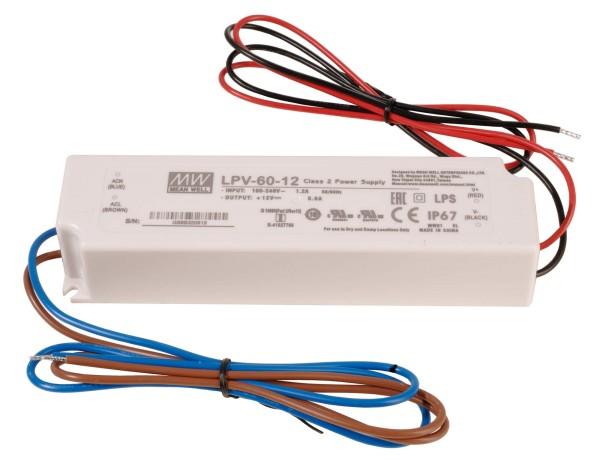 Meanwell Netzgerät, LPV-60-12, Kunststoff, Weiß, 60W, 12V, 163x43mm