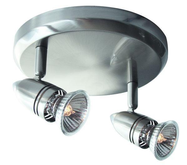Deckenleuchte Sol, 2 flammig, Edelstahloptik, 230V, GU10, max 2x50W, dreh-schwenkbar, inkl. Leuchtmi