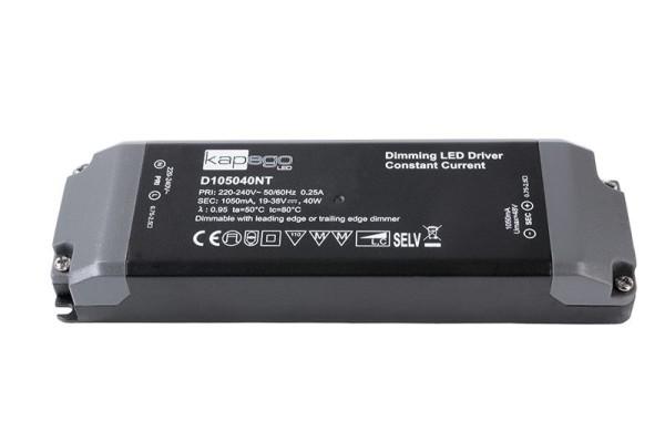 Deko-Light Netzgerät, BASIC, D105040NT, Kunststoff, Schwarz, 40W, 19-38V, 1050mA, 166x52mm