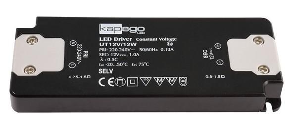 Deko-Light Netzgerät, FLAT, UT12V/12W, Kunststoff, Schwarz, 12W, 12V, 128x50mm