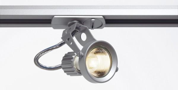 AERO, Spot für Hochvolt-Stromschiene 1Phasen, QPAR51, silbergrau, max. 50W, inkl. 1Phasen-Adapter