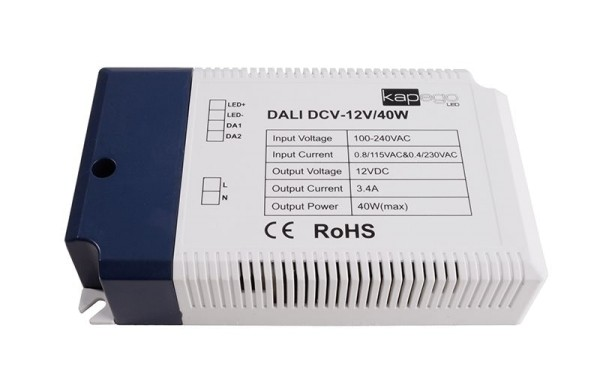 Deko-Light Netzgerät, DCV-12V/40W Integration in DALI-Netzwerke, Kunststoff, Weiß, 40W, 12V, 3400mA