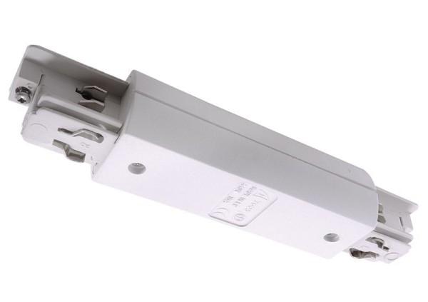 Ivela Schienensystem 3-Phasen 230V, Längsverbinder quadratisch mit Einspeisemöglichkeit, Kunststoff