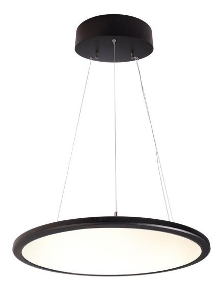 Deko-Light Pendelleuchte, LED Panel transparent rund, Aluminium, schwarz, Warmweiß, 150°, 50W, 230V