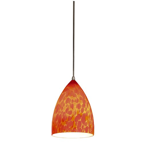 TONGA I Pendelleuchte, rot-orange, Glasschirm, E14, max. 60W, silbergraue Rosette