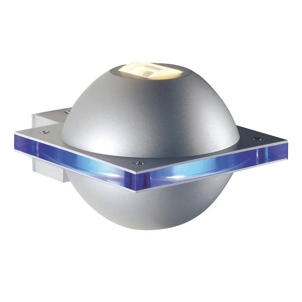 UFO BEAM, Outdoor Wandleuchte, QT14, IP44, silbergrau/Polycarbonat blau, max. 40W