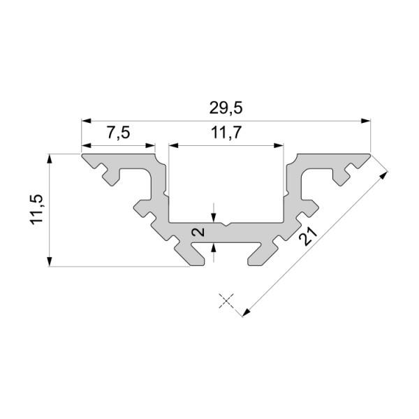 Reprofil, Eck-Profil AV-01-10 für LED Stripes bis 11,3 mm, Silber-matt, eloxiert, 2000 mm
