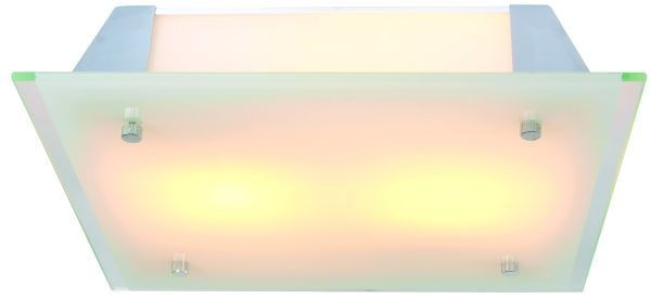 Deckenleuchte HF-Quad 80 W, mit Sensor, Glas klar/ weiß, 230V, E27, 2x 40W, excl. LM, IP20, BxHxT 32