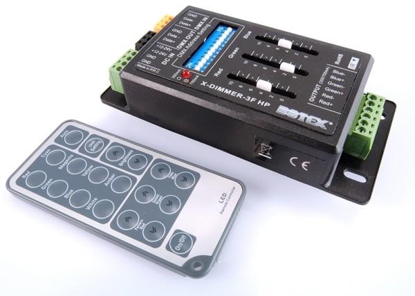 Botex Controller, X-Dimmer 3F, spannungskonstant, dimmbar: DMX512 / IR Fernbedienung, 12-24V DC, 144