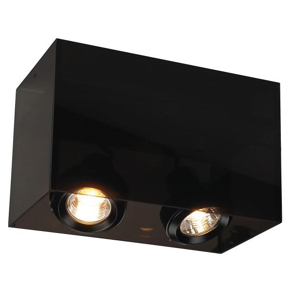 ACRYLBOX, Deckenleuchte, zweiflammig, QPAR51,rechteckig, schwarz/transluzent, max. 100W