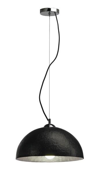 FORCHINI PD-2, Pendelleuchte, A60, rund, schwarz matt/silber, Ø 38 cm, max. 40W