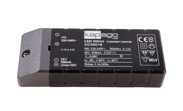 Deko-Light Netzgerät, BASIC, CC35018, Kunststoff, Schwarz, 18W, 2-52V, 350mA, 115x45mm