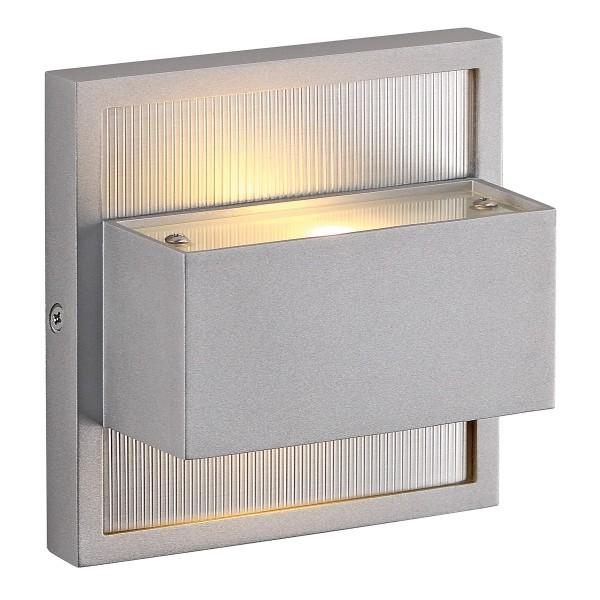 DACU, Outdoor Wandleuchte, LED, 2700K, IP44, eckig, silbergrau, up/down, max. 2W