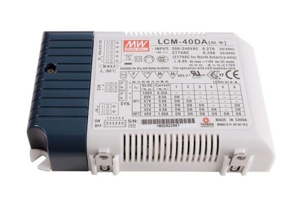 Meanwell Netzgerät, LCM-40DA Integration in DALI-Netzwerke, Kunststoff, Weiß, 42W, 2-100V, 350mA