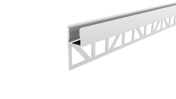 Reprofil Profil, Fliesen-Profil Abschluss nach oben leuchtend, Aluminium, Weiß lackiert, 3000mm
