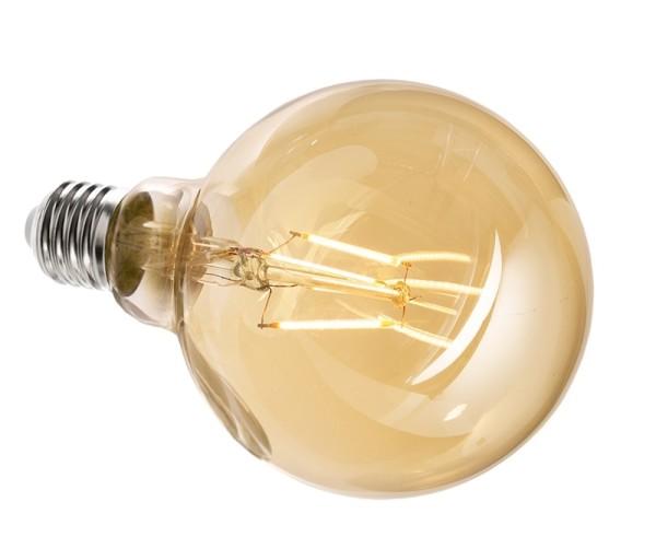 Deko-Light Leuchtmittel, Filament E27 G95 2200K, Glas, Amber, Warmweiß, 300°, 4W, 230V, 11mA, 140mm