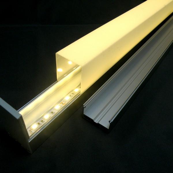 ALU-PROFIL SET mit Cover, Endkappen & Abhänge-Set für bis zu zwei LED Strips parallel, 1m