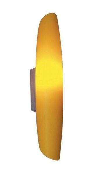 Wandleuchte Tube, chrom, gelbes Glas
