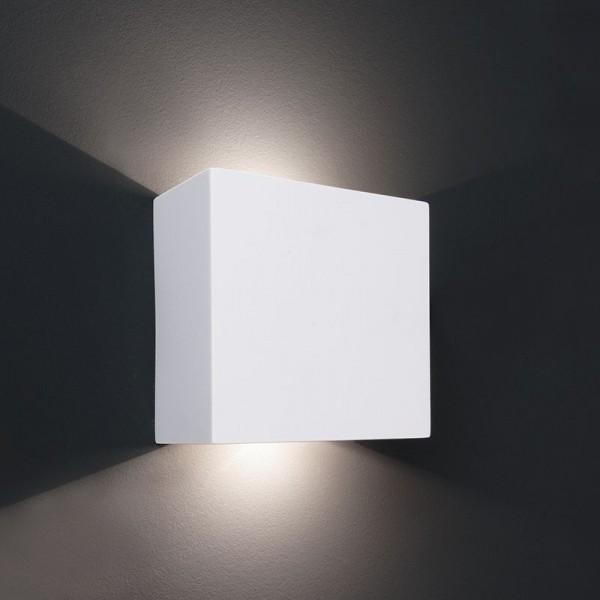 Deko-Light Wandaufbauleuchte, Quinta, Gips, weiß überstreichbar, Warmweiß, 5W, 230V, 125x60mm
