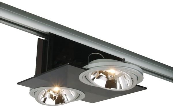 3-phasen Spot Parasol I 2 x AR111 HALOGEN, Acrylglas schwarz, matt silber, max. 2 x 35 Watt, inkl. 3