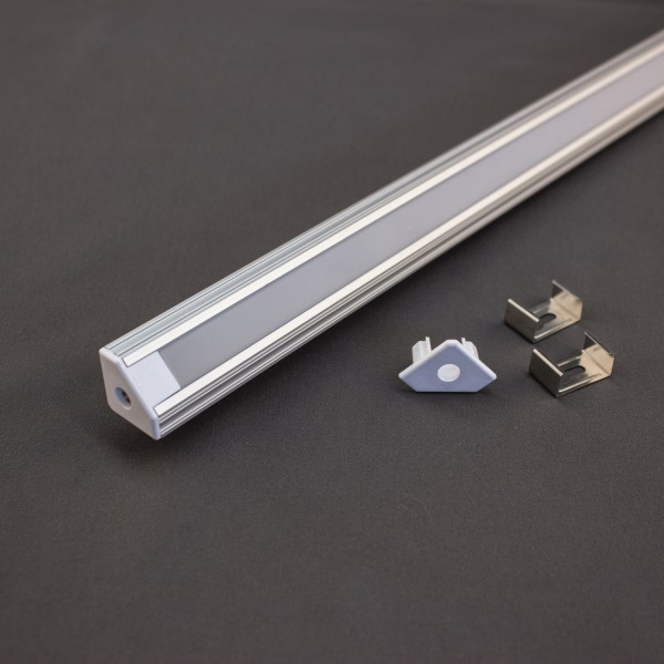 45° ALU-PROFIL SET mit Cover für LED Strip, 1m