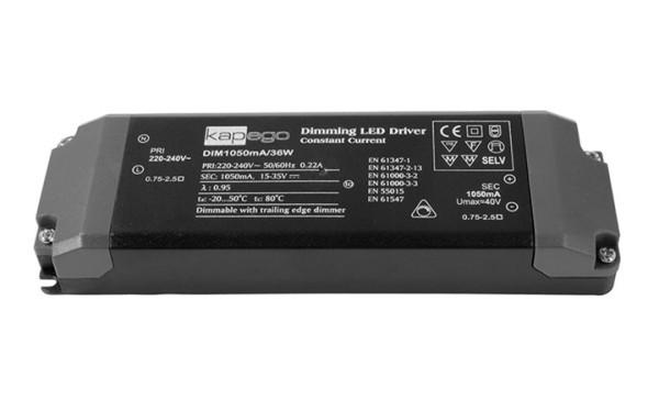 KapegoLED Netzgerät, Dim1050mA/36W, dimmbar: Phasenabschnitt, Eingangsspannung: 220-240V AC/50-60Hz