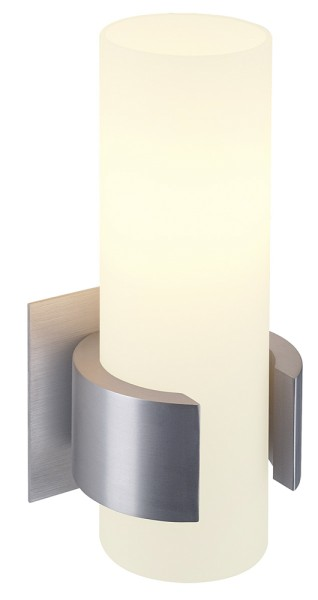 DENA 1, Wandleuchte, einflammig, A60, aluminium gebürstet, L/B/H 10/8/20, Glas teilsatiniert